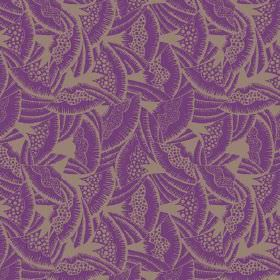 Beja (Linen Union) - 4 - Linen fabric with a fan print design in brown and purple