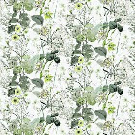 Winter (Cotton) - 1 - Roughly printed green-grey branches and leaves with some small yellow flowers on white cotton fabric
