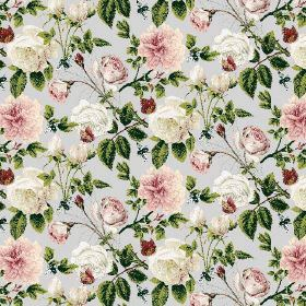 Rose (Linen Union) - 1 - Linen fabric in a very pale shade of blue-grey, covered with a floral pattern in pink and cream with bright green l