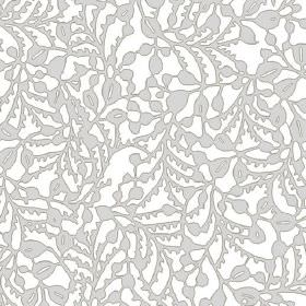 Delta (Linen Union) - 1 - Grey stylised leaves and vines on a white linen fabric background
