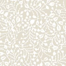 Delta (Linen Union) - 2 - A subtle pattern of stylised white leaves and vines printed on stone coloured linen fabric