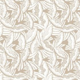 Beja (Cotton) - 1 - A light brown fan design printed randomly over white cotton fabric