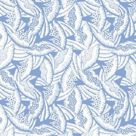Beja (Linen Union) - 2 - Cobalt blue and white fan print linen fabric