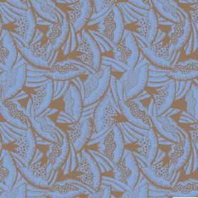 Beja (Linen Union) - 3 - A design resembling fans printed in brown across a blue-mauve linen fabric background