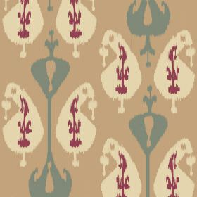 Ikat (Linen Union) - 1 - Cream, dark pink-purple and blue-grey shapes printed on caramel coloured linen fabric