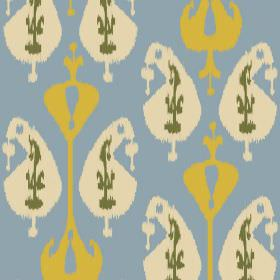 Ikat (Linen Union) - 2 - Linen fabric in light blue, with a pattern of mustard yellow, cream and green shapes