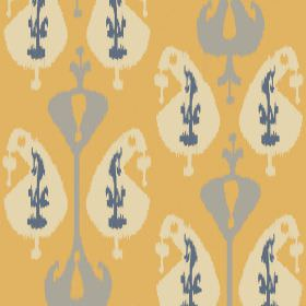 Ikat (Cotton) - 3 - Fabric made from pumpkin coloured cotton with a repeated pattern in grey, cream and navy