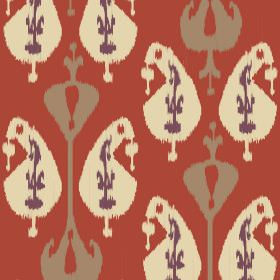 Ikat (Cotton) - 4 - Chandelier type shapes in cream, purple and light brown printed on a terracotta coloured cotton fabric background