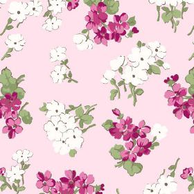 Viola (Linen Union) - 4 - Linen fabric in light pink, printed with a pattern of stylised pink and white flowers and green leaves