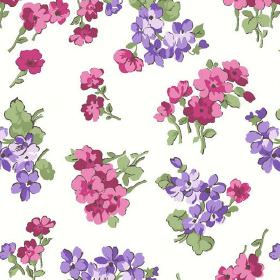 Viola (Linen Union) - 5 - Green leaves printed with pink and purple flowers on a white linen fabric background
