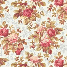 Bouquet (Linen Union) - 2 - Patterned white and grey linen fabric with a vintage inspired pink, green and cream floral print