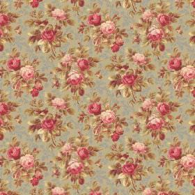 Bouquet Mini (Cotton) - 1 - Cotton fabric with a small vintage floral print in pink, green, cream and blue