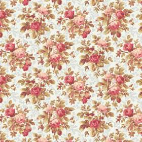 Bouquet Mini (Cotton) - 2 - White and grey cotton fabric with a small, realistic floral pattern in shades of green, cream and pink
