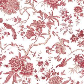 Volare (Linen Union) - 1 - Fabric made from white linen with a pattern in a brick red colour of exotic birds, leaves, branches and flowers