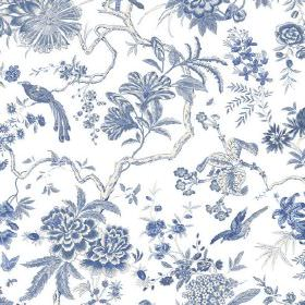 Volare (Cotton) - 2 - White cotton fabric with a blue pattern including branches, exotic birds, large flowers and leaves