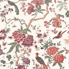 Volare (Linen Union) - 3 - Red, orange, green and brown leaves, branches, flowers and exotic birds printed on white fabric made from linen