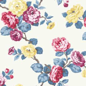 Westbay (Cotton) - 1 - White fabric made from cotton patterned with yellow, red and purple flowers, grey branches and shaded blue leaves