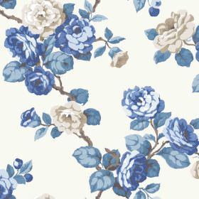 Westbay (Cotton) - 2 - Roses, leaves and branches in different shades of grey and blue upon a cotton fabric background in white