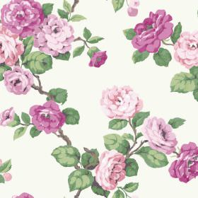 Westbay (Cotton) - 3 - White cotton fabric with green leaves and pink and purple shaded flowers printed on top