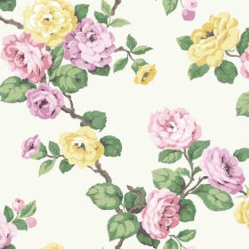 Westbay (Linen Union) - 4 - A pattern of green leaves, yellow flowers and flowers in shades of pink printed on white linen fabric
