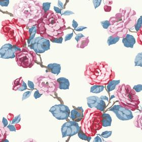 Westbay (Linen Union) - 5 - Blue leaves with red, purple and pink flowers against linen fabric in white