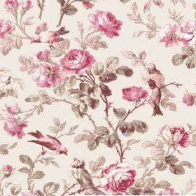 Treyford (Linen Union) - 1 - Fabric made from off-white linen, printed with a bird, rose and leaf pattern in shades of pink, cream and grey