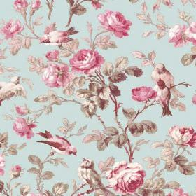 Treyford (Linen Union) - 2 - Light blue linen fabric with a pattern featuring pink and white birds and roses and leaves in grey and cream