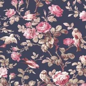 Treyford (Linen Union) - 3 - Shaded pink and white flowers and birds and grey and cream leaves printed on navy blue linen fabric