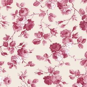 Petworth (Linen Union) - 1 - Roses and branches which are shaded in dark pink-red printed on white linen fabric