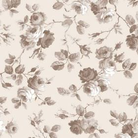 Petworth (Linen Union) - 2 - A grey shaded pattern of roses, leaves and branches on linen fabric in white