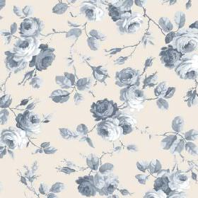 Petworth (Linen Union) - 3 - Linen fabric in an off-white shade with a blue shaded rose, leaf and branch pattern