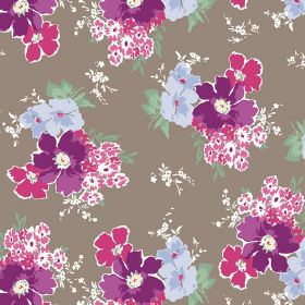 Tilly (Cotton) - 1 - Simple purple, pink and light blue flowers edged in white, beside green leaves and white flowers on grey cotton fabric
