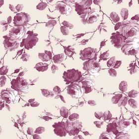 Petworth (Linen Union) - 4 - Fabric made from white linen with a pattern of roses, leaves and branches in shades of purple-pink