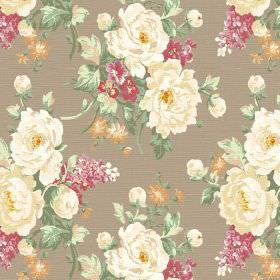 Pivoine (Linen Union) - 1 - Fabric made from grey linen with garlands of cream, dusky pink and orange flowers printed on top with green leav
