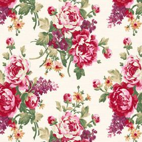 Pivoine (Cotton) - 3 - Roses and buds in shades of pink and red with green stalks and leaves printed on white cotton fabric