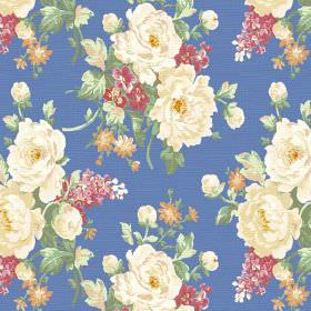 Pivoine (Linen Union) - 4 - Cobalt blue coloured linen fabric decorated with green leaves and realistic flowers in cream, dusky pink and ora