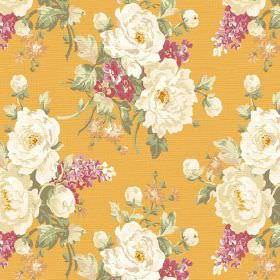 Pivoine (Linen Union) - 5 - Cream, white and dusky pink coloured flowers printed with green leaves upon linen fabric in mustard yellow