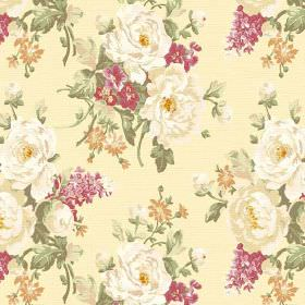 Pivoine (Linen Union) - 6 - Fabric made from pale yellow coloured linen, with a pattern of realistic cream, pink and gold flowers and green