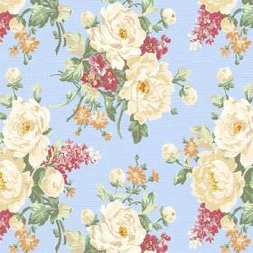 Pivoine (Linen Union) - 7 - A repeated pattern of groups of cream, red and gold flowers with green leaves on light blue linen fabric