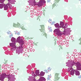 Tilly (Linen Union) - 2 - Purple, pink, white and mauve flowers with green leaves against a linen fabric background in ice blue