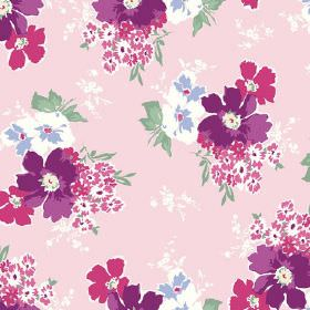 Tilly (Cotton) - 3 - Pansy type flowers in purple, pink and white, printed with green leaves on a pale pink cotton fabric background