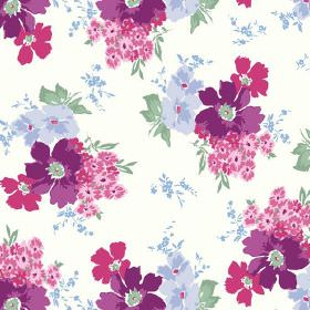 Tilly (Cotton) - 4 - White cotton fabric printed with small groups of purple, pink and mauve flowers and green leaves
