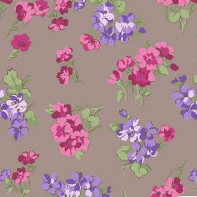 Viola (Cotton) - 1 - Simple pink and purple flowers with green leaves scattered over chocolate coloured cotton fabric