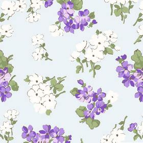 Viola (Linen Union) - 2 - Fabric in ice blue coloured linen, scattered with purple and white flowers and green leaves