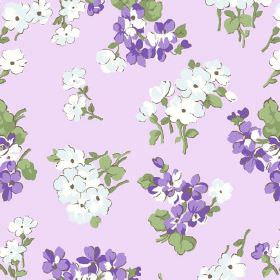 Viola (Cotton) - 3 - Stylised flowers in white, ice blue and purple, with green stalks and leaves, printed on a lilac coloured cotton fabric