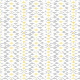 Jodhpur (Cotton) - 1 - Rows of pale yellow and grey diamonds printed on white cotton
