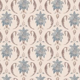 Jaipur (Cotton) - 4 - Putty coloured cotton fabric patterned with dusky blue and grey shapes printed all over it