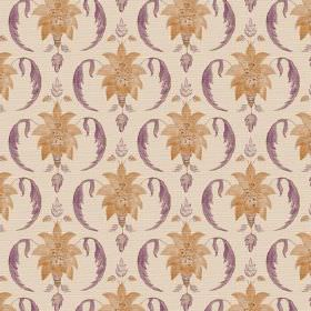 Jaipur (Linen Union) - 5 - Fabric made from light beige-cream coloured linen, with a design of orange-gold leafy bursts and purple curves