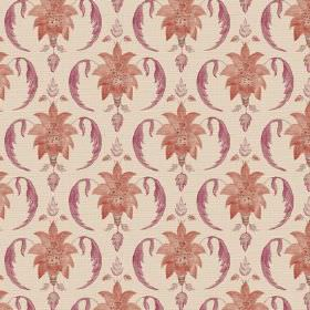 Jaipur (Cotton) - 6 - Cream coloured linen fabric as a background for a design of reddish brown bursts of leaves and curves in dark red-pink