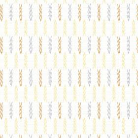 Agra (Cotton) - 1 - Cotton fabric in white, with lines of cream, gold and blue chevrons